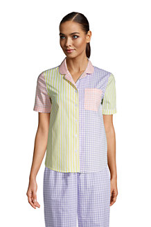 Women's Short Sleeve Cotton Poplin Pyjama Shirt