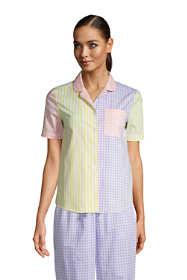 Women's Petite Short Sleeve Cotton Poplin Pajama Shirt