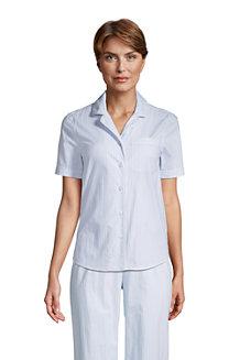 Chemise de Pyjama en Popeline à Manches Courtes, Femme