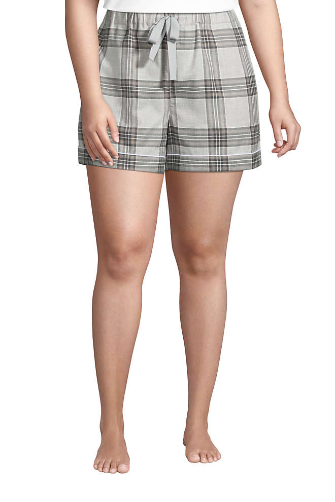 "Women's Plus Size 4"" Flannel Pajama Shorts, Front"
