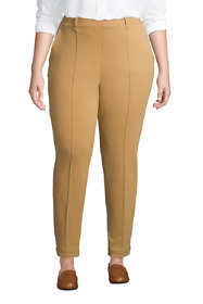 Women's Plus Size Sport Knit High Rise Elastic Waist Pull On Tapered Trousers