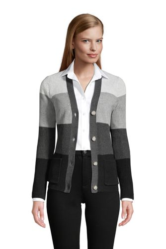Women's Cotton Cable Drifter Shaker Cardigan Colorblock Sweater