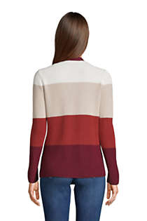 Women's Cotton Cable Drifter Shaker Cardigan Colorblock Sweater, Back