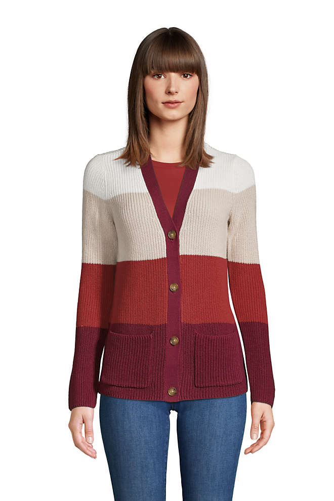 Women's Cotton Cable Drifter Shaker Cardigan Colorblock Sweater, Front