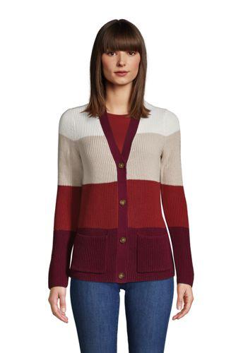 Colorblock Baumwoll-Cardigan DRIFTER mit Shaker-Struktur für Damen in Petite-Größe