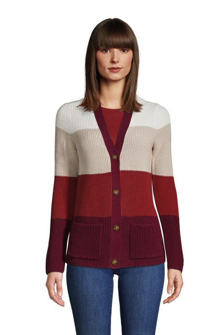 Women's Cotton Cable Drifter Cardigan Colorblock Sweater