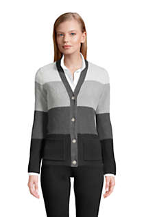Women's Petite Cotton Drifter Cardigan Colorblock Sweater, Front
