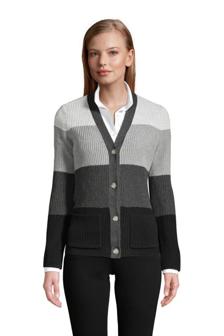 Women's Tall Cotton Cable Drifter Cardigan Colorblock Sweater