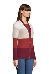 Women's Cotton Cable Drifter Shaker Cardigan Colorblock Sweater, alternative image