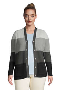 Women's Plus Size Cotton Cable Drifter Shaker Cardigan Colorblock Sweater, alternative image