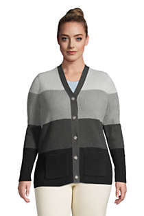 Women's Plus Size Cotton Cable Drifter Shaker Cardigan Colorblock Sweater, Front