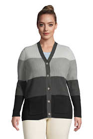 Women's Plus Size Cotton Cable Drifter Cardigan Colorblock Sweater