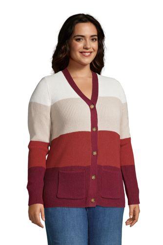 Women's Plus Size Cotton Cable Drifter Shaker Cardigan Colorblock Sweater