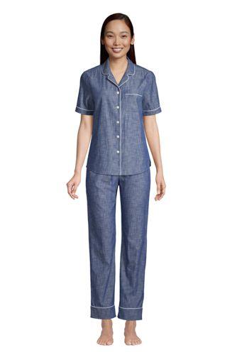 Women's Short Sleeve Cotton Chambray Pajama Shirt