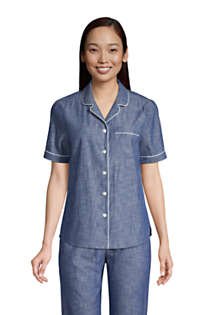 Women's Short Sleeve Cotton Chambray Pajama Shirt, Front