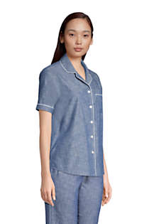 Women's Short Sleeve Cotton Chambray Pajama Shirt, alternative image