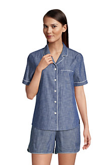 Women's Short Sleeve Cotton Chambray Pyjama Shirt