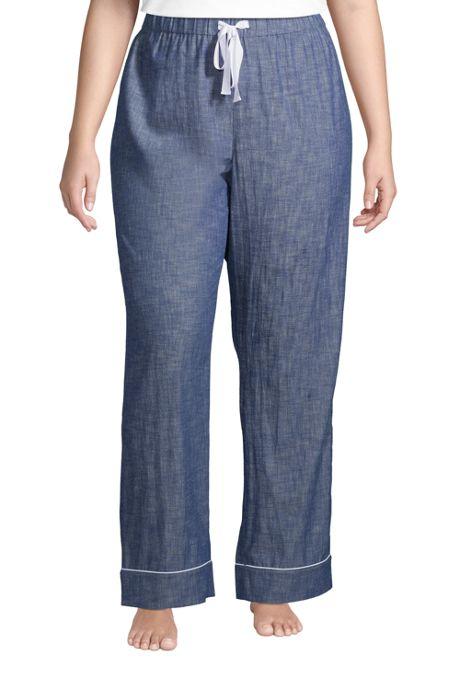 Women's Plus Size Cotton Chambray Pajama Pants