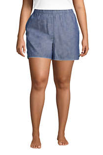 Women's Plus Size Cotton Chambray Pajama Shorts, Front