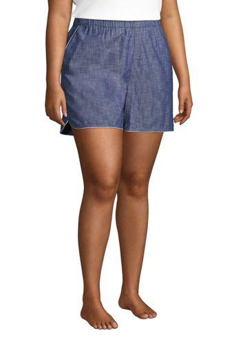 Women's Plus Size Cotton Chambray Pajama Shorts