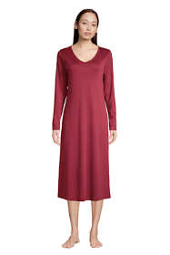 Women's Tall Supima Cotton V-Neck Long Sleeve Midcalf Nightgown