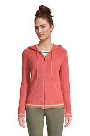 Women's Petite Cotton Cable Drifter Zip Up Hoodie Cardigan Sweater