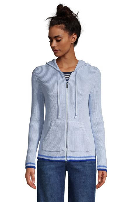 Women's Cotton Cable Drifter Zip Up Hoodie Cardigan Sweater
