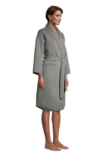 Women's Petite Quilted Cotton Robe