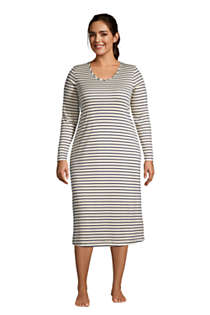 Women's Plus Size Supima Cotton V-Neck Long Sleeve Midcalf Nightgown, Front