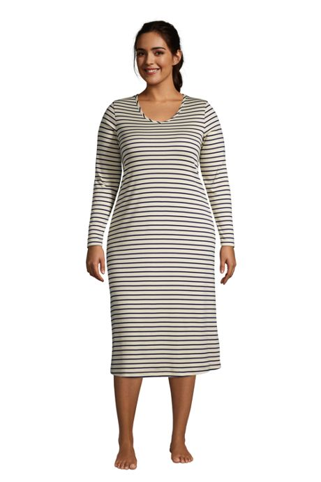 Women's Plus Size Supima Cotton V-Neck Long Sleeve Midcalf Nightgown