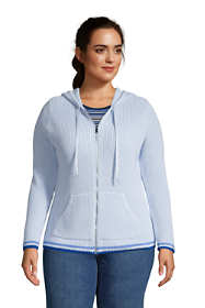 Women's Plus Size Cotton Cable Drifter Zip Up Hoodie Cardigan Sweater