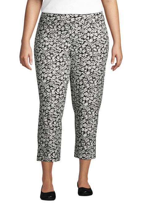 Women's Plus Size Starfish Elastic Waist Pull On Crop Pants Print