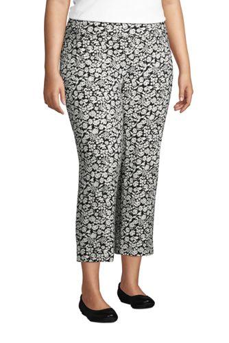 Women's Plus Size Starfish Elastic Waist Pull On Crop Pants Print