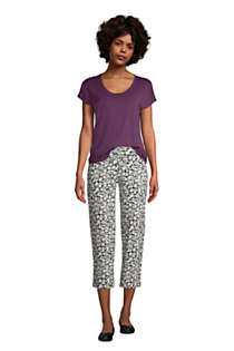 Women's Starfish Mid Rise Elastic Waist Pull On Crop Pants Print, alternative image