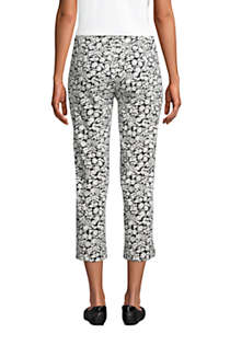 Women's Starfish Mid Rise Elastic Waist Pull On Crop Pants Print, Back