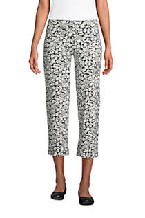Women's Starfish Mid Rise Elastic Waist Pull On Crop Pants Print, Front