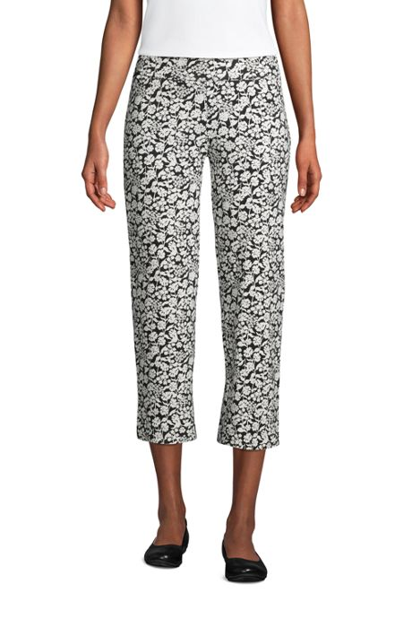 Women's Petite Starfish Mid Rise Elastic Waist Pull On Crop Pants Print