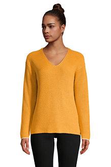 Gerippter Baumwoll-Pullover DRIFTER mit V-Ausschnitt