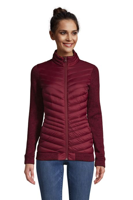 Women's Petite Ultralight Down Packable Sweater Fleece Jacket