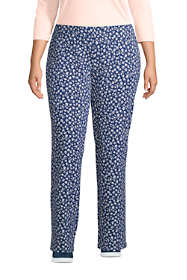 Women's Plus Size Starfish Mid Rise Straight Leg Elastic Waist Pull On Pants