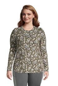 Women's Plus Size Long Sleeve Curved Hem Moisture Wicking SPF Sun Tunic Print