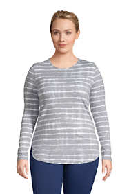 Women's Plus Size Long Sleeve Curved Hem Moisture Wicking SPF Sun Tunic Print