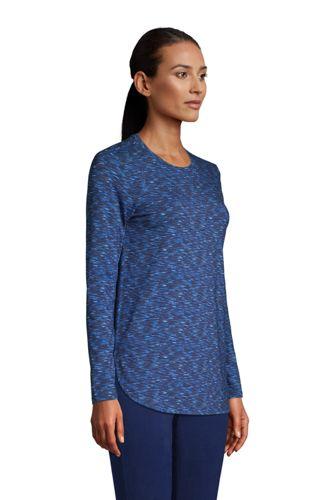 Women's Petite Long Sleeve Curved Hem Moisture Wicking SPF Sun Tunic Print