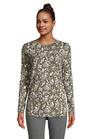 Women's Petite Long Sleeve Curved Hem Moisture Wicking SPF Sun Tunic Print