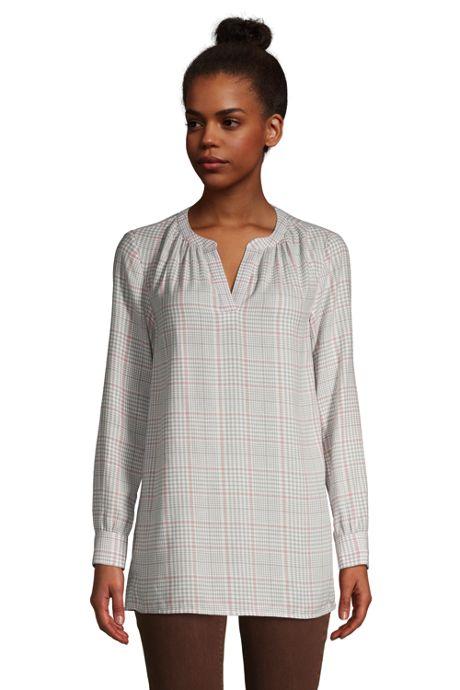 Women's Brushed Cotton Long Sleeve V-Neck Tunic Top