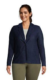 Women's Plus Size Sport Knit Blazer-Indigo