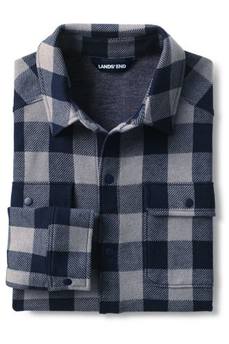 Men's Tall Long Sleeve Brushed Jacquard Shirt Jacket