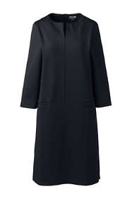 Women's Plus Size Ponte 3/4 Sleeve Split Neck Shift Dress