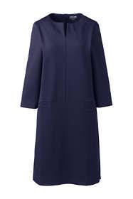 Womens Petite Ponte 3/4 Sleeve Split Neck Shift Dress
