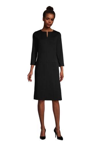 Lands End Women/'s 3//4 Sleeve Ponte Flounce Dress Radiant Navy Stripe New